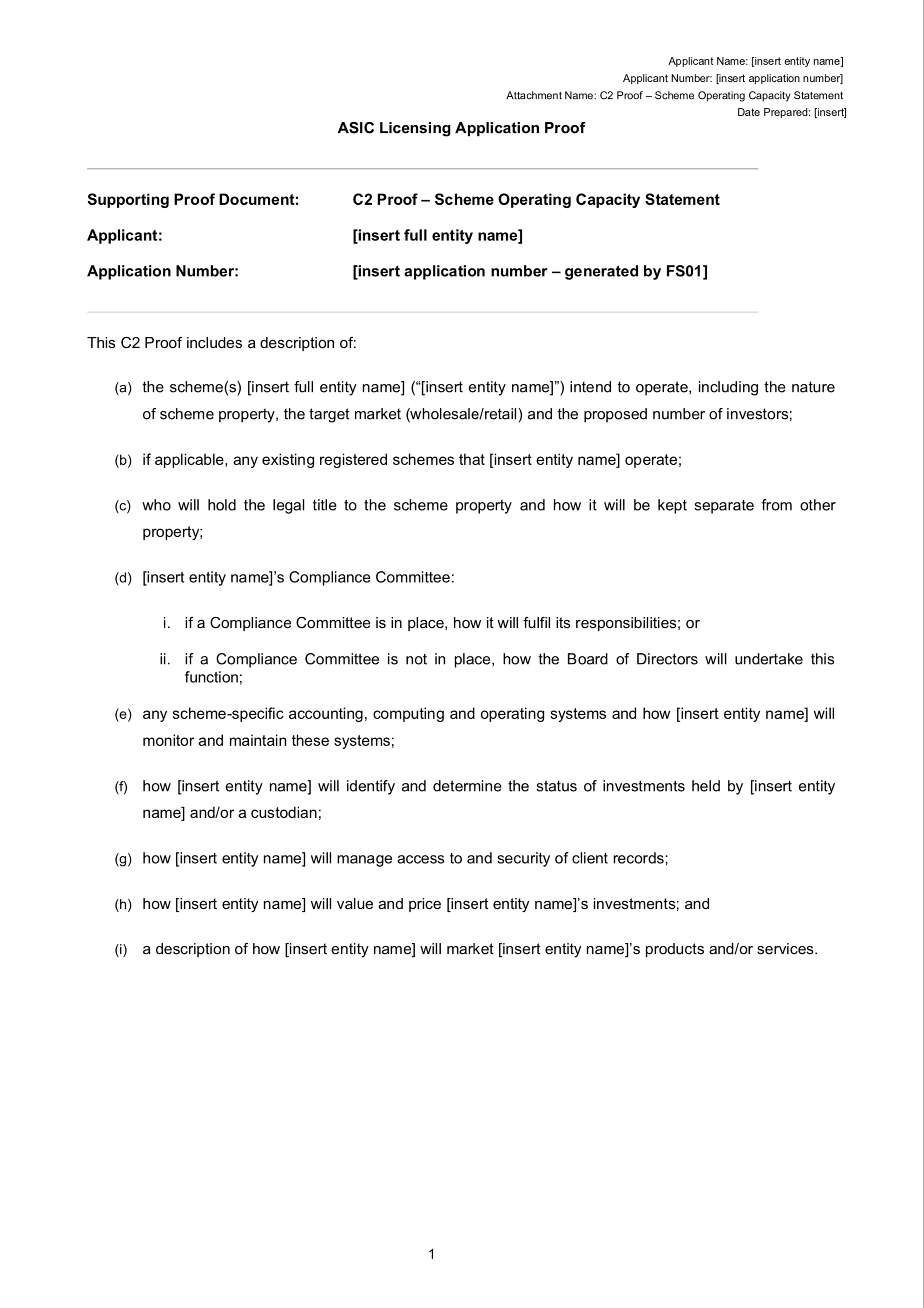 Afsl C2 Proof Template Scheme Operating Capacity Statement Sophie Grace